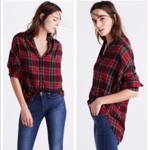 Madewell | Central Flannel Red Plaid Top Medium